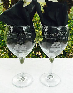 Details About 2 Personalized Etched Wine Glasses Wedding Or Bridal Shower Gift Cake Design