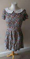 VINTAGE RETRO WOMENS STUNNING UNIQUE TEA STYLE DRESS DITSY FLORAL PRINT 10 12