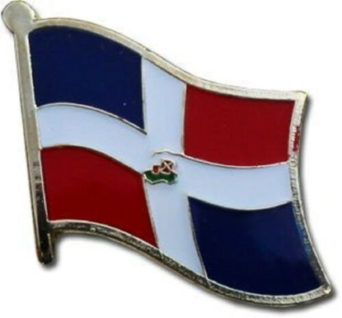 Wholesale Pack of 6 Dominican Republic Country Flag Bike Hat Cap lapel Pin