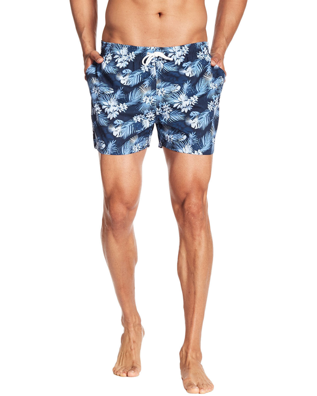 Knowledge Cotton Apparel Men's Palm Print Swim Shorts X-Large XL Navy Trunks