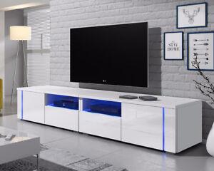 Oxy-Double-meuble-TV-200-cm-laque-brillant-Blanc-Noir-Gris-LED-bleue-design-banc