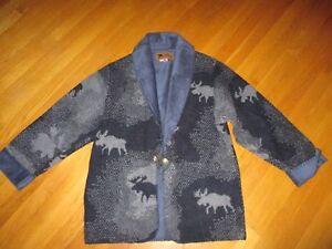NWOT Bear Ridge Blue Gray Moose Fleece Jacket Faux Suede Collar ...