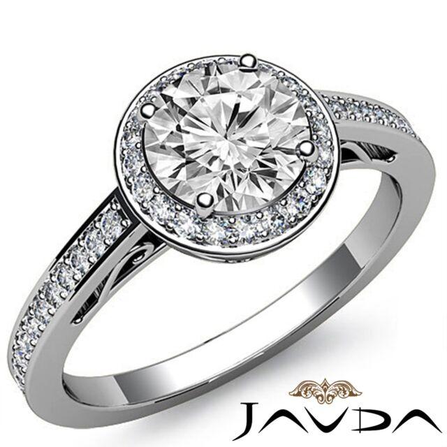Round Diamond Classic Engagement Halo Pave Set Ring GIA F VS2 18k White Gold 2ct