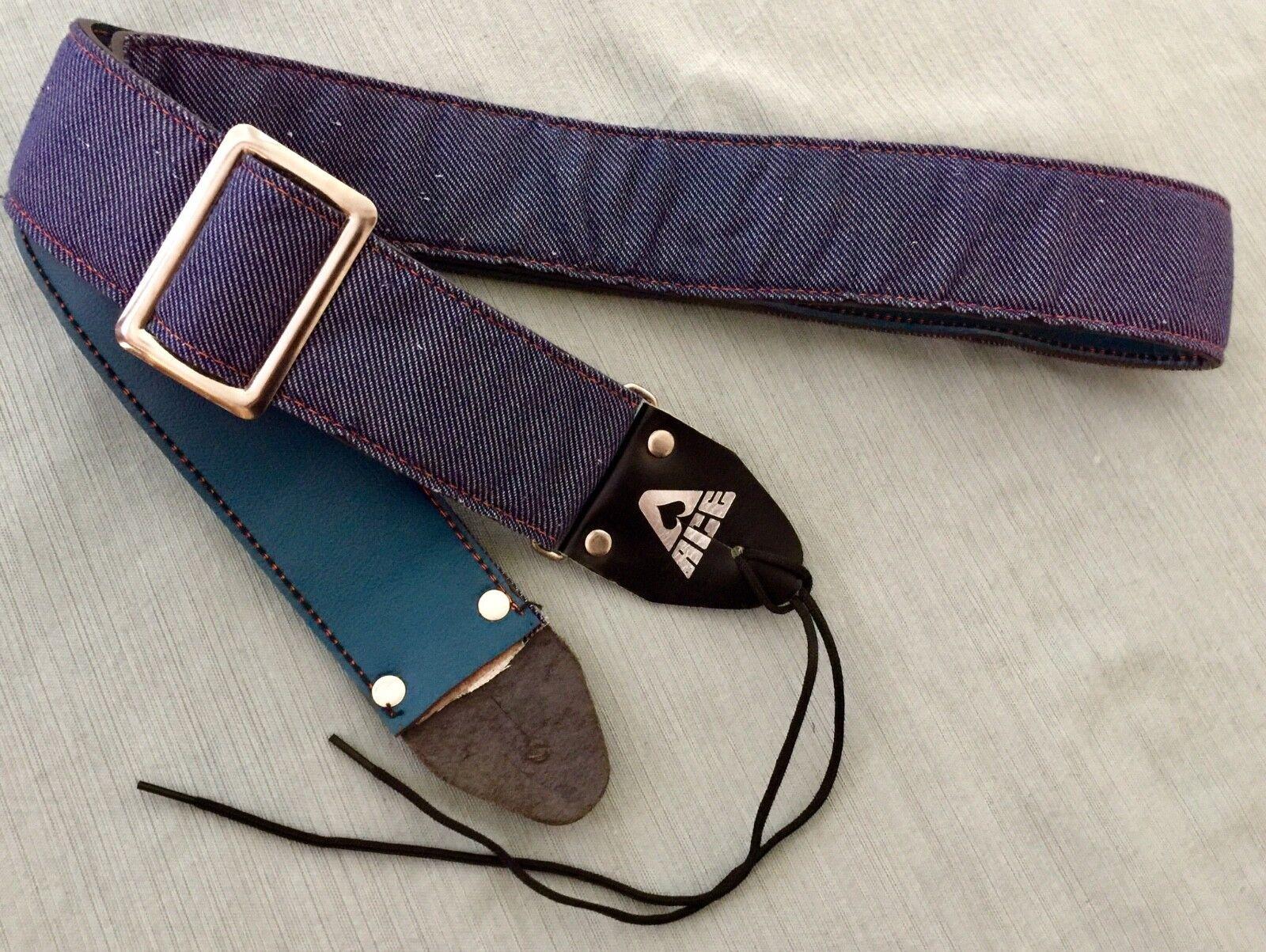 Rare Vintage ACE Indigo Denim Guitar Strap Made in USA New