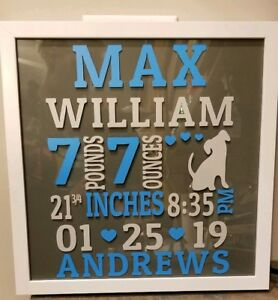 Keepsakes & Baby Announcements Baby Announcement Shadow Box Birth Announcements & Cards Customized!