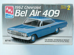 AMT-Ertl-8716-factory-sealed-1962-Chevrolet-Bel-Air-409-1-25-scale-kit-1993