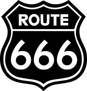 Route-666-Vinyl-Sticker-Decal-Heavy-Metal-Pagan-Black-Choose-Size-amp-Color