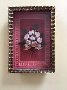 Tableau cadre Bouquet de fleurs artificielles tissus sous verre (S)