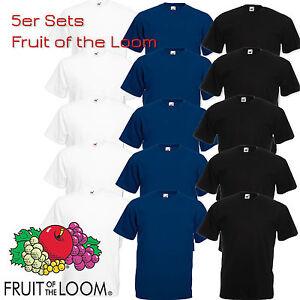 5er-Set-Fruit-of-the-Loom-T-Shirt-Herren-S-M-L-XL-XXL-3XL-4XL-Schwarz-Weiss-Navy
