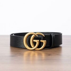 GUCCI-450-Men-039-s-Black-Leather-Belt-with-Double-G-Buckle