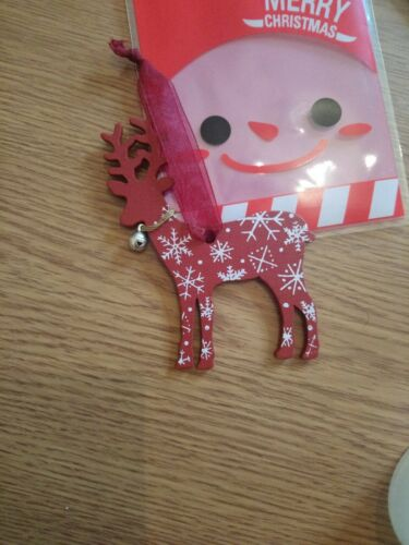 With Xmas gift bag. Reindeer with metal bell charm Christmas/'s Tree Decoration