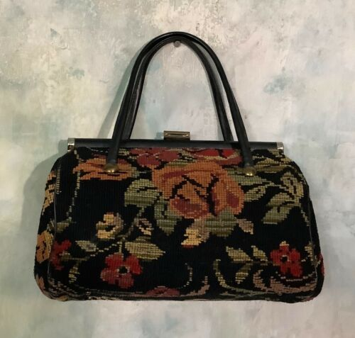 Vintage 50's Tapestry Needlepoint Floral Purse Bag