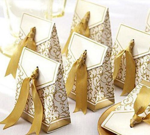 12 Table Stand Guest Gift Candy Wedding Name Cards Box Table Card