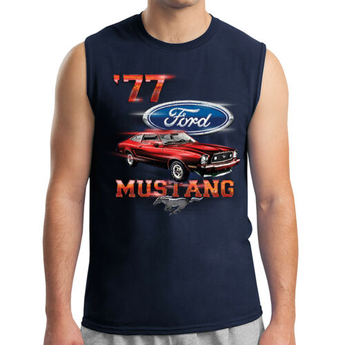2046C 77 Ford Mustang Men/'s Sleeveless Vintage Red American Car Muscle Tee