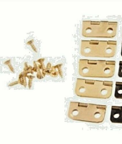 10x Mini Tiny Gold Tone Hinges Jewelry Boxes Small Hinge Craft Screws 16x13mm A