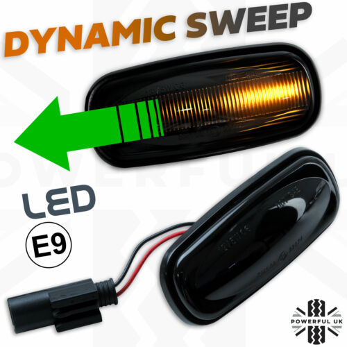 DYNAMIC Audi Stile Sweep Led Indicatore Ripetitore Laterale Affumicato Luce si adatta Defender