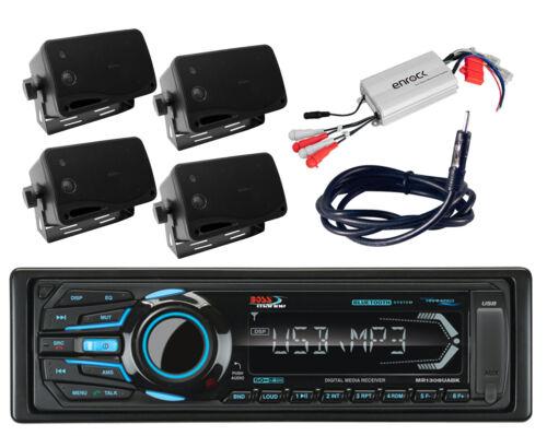 Antenna Amplifier 4 Black Box Marine Speakers /& Boss Bluetooth USB iPod Radio