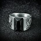 Gothic Punk Solitaire Princess Black Onyx Stainless Steel Mens Dragon Biker Ring