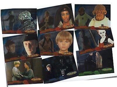 STAR WARS EVOLUTION 2001 TOPPS COMPLETE FOIL BASE CARD SET OF 90 3 CHECKLISTS