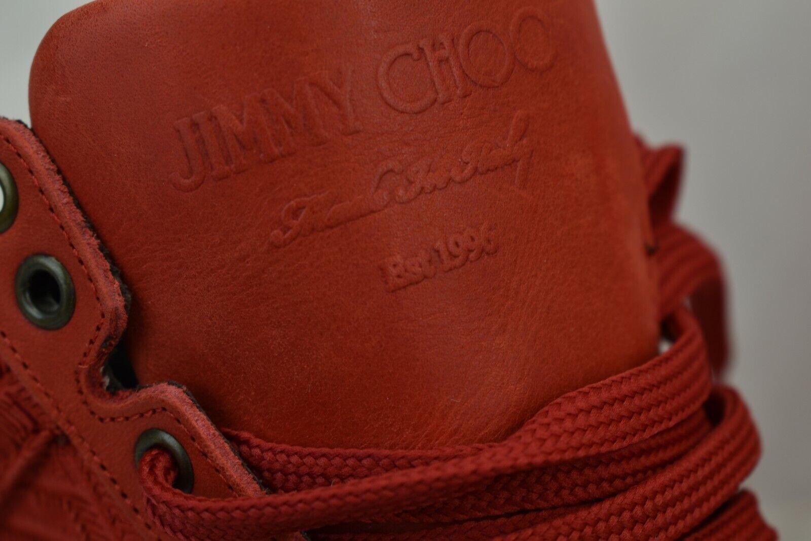 JIMMY CHOO BELGRAVI ULTRA rosso CHEVRON CUT CUT CUT SUEDE LACE UP HI TOP scarpe da ginnastica 42.5 9.5 ef6bf6