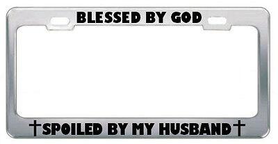 GOD FORGIVES LET HIM RELIGIOUS GOD JESUS License Plate Frame Metal Chrome WHITE