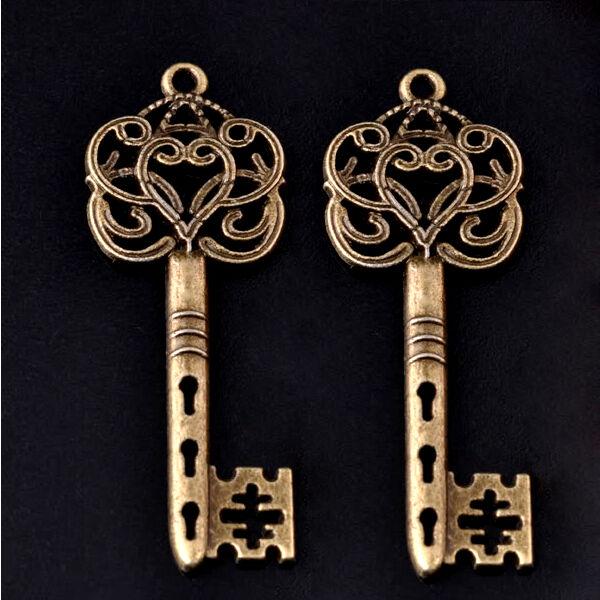 Skeleton Keys Brass Steampunk Victorian 59mm Jewelry Craft Lot of 5