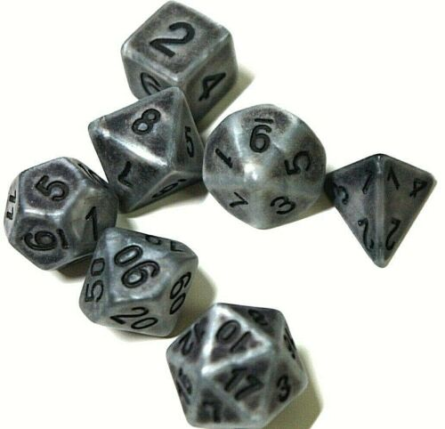 RPG Würfel Set 7 teilig Poly DND Rollenspiel antik silber dice4friends w4-w20