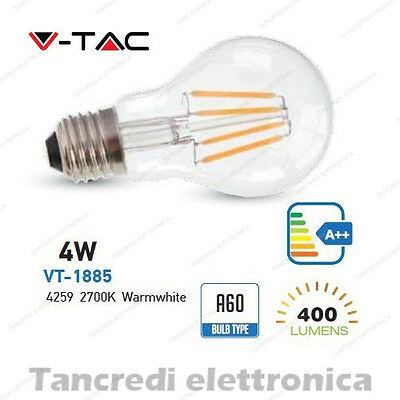 Abile Lampadina Led V-tac 4w = 50w E27 Bianco Caldo 2700k Vt-1885 A60 Filamento Bulbo