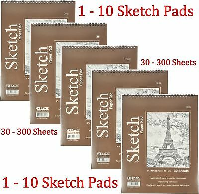"""6/"""" x 8/"""" Spiral Sketch Pad Book Bazic 50 Paper Sheets for Pencil Ink Pastel"""