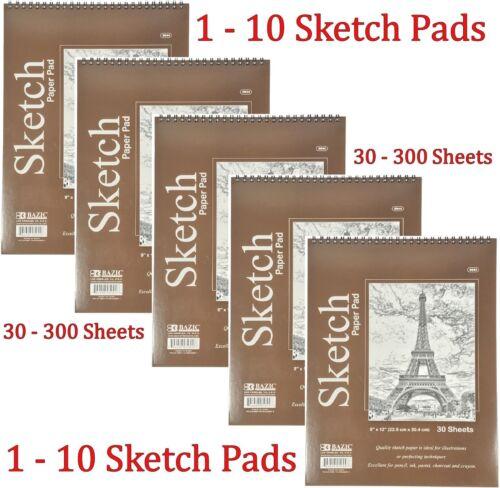 Spiral Sketch Pad Book 9 x 12 Art Drawing Paper 30 sheets pencil pastel ink