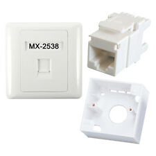 MX Combo Set RJ45 CAT5E Lan I/O Network Keystone Jack +Gang Box+ Face Plate -NET