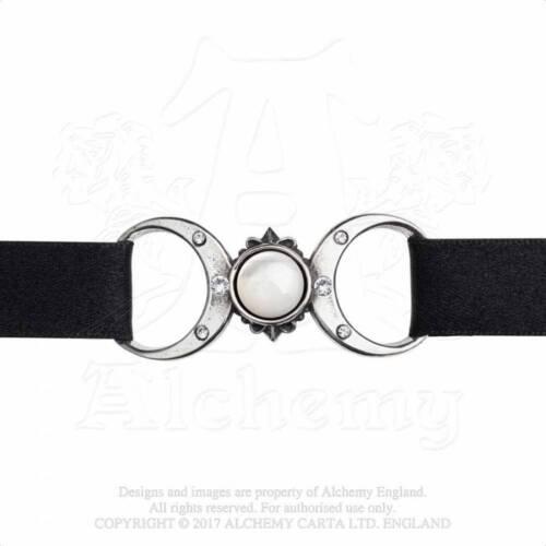 Estaño alquimia gótica Madre de Perla Triple Diosa Luna Gargantilla Collar P810