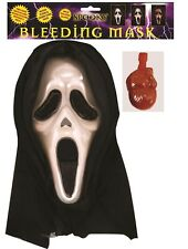 Adult Screaming Halloween Mask with Blood for Ghost Movie TV Fancy Dress Costume