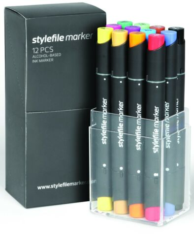 Stylefile Twin Tipped Professional Cartoon Marker Standard Shades Set of 12