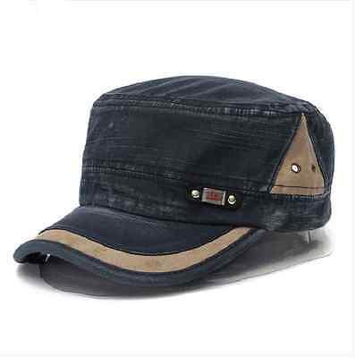 Army Plain Men Women Adjustable BLUE Vintage Hat Cadet Military Baseball Cap