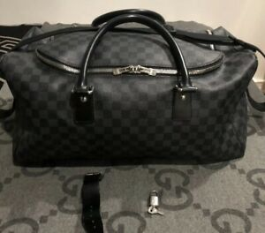 150fe920b124 100% AUTH LOUIS VUITTON ROADSTER DUFFEL BAG DAMIER GRAPHITE WITH ...