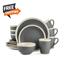 Melange 32 Piece Contempo Cantina 2 Tone Stoneware Dinner Set Place Setting 8 For Sale Online Ebay