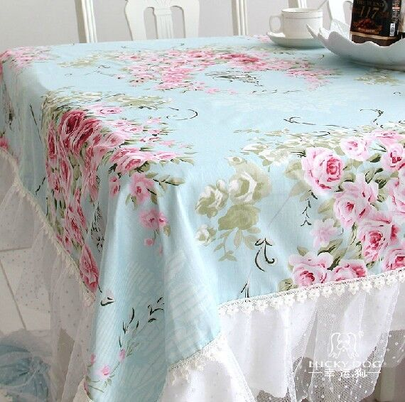 French Country Cottage Shabby Chic Floral Rose Blue Lace Table Cloth
