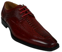 Men's Dress Giovanni Shoes Formal Crocodile Style Wedding Oxford Prom Red