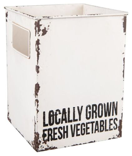 White Metal 'Locally Grown Fresh Vegetables' Box Container Home Decor 8 H NEW