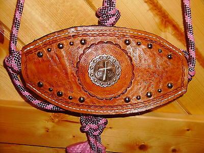 Bronc Halter lead rope PINK barrel racing horse tack Concho & Spots bling