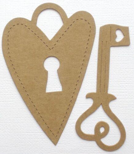 {4 Pc} corazón Scroll Lock /& Key-Bare Cerradura De Aglomerado Die Cuts