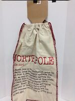Canvas Country Rustic Christmas North Pole Gift Storage Tote Bag Cinch Sack
