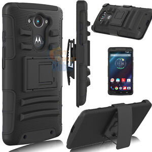For-Motorola-Droid-Turbo-XT1254-Hybrid-Rugged-Stand-Case-Cover-Holster-Black