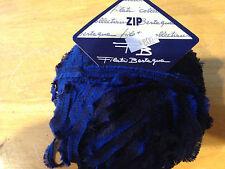 """1 Skein Filati Bertagna YARN """"ZIP"""" 90% Acrylic, 10% Nylon 50g, +90m Navy Ribbon"""