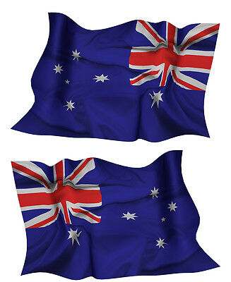 AUSTRALIA FLAG DECAL left and right facing AUSSIE SIZE 80MM BY 51MM GLOSS