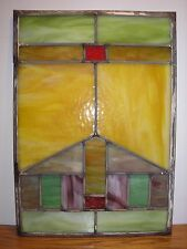 "Antique Stained Leaded Glass Window Door Insert 14"" by 20"" Slag"