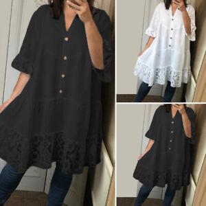 Women-Loose-Short-Sleeve-V-Neck-Button-Down-Shirt-Long-Top-Blouse-Tee-Lace-Dress