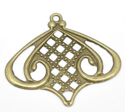 50 Bronze Filigree Charm Pendants DIY Embellishment Findings Art Deco 5.5x5cm