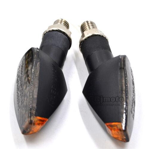 Pair Motorcycle LED Turn Signal Amber Light Indicator EMARK Smoke Lens Black